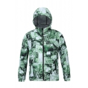 Mens Funny Plants Leaf Letter Printed Long Sleeve Sportswear Zip Up Hooded Jacket Coat for Couple
