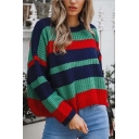 Womens Fashionable Stripes Printed Long Sleeve Round Neck Loose Fit Knitted Pullover Sweater