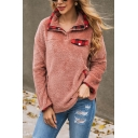 Womens Chic Checked Trim Lapel Button Decoration Long Sleeve Loose Teddy Pullover Sweatshirt