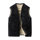 Mens Winter Casual Collarless Zip Up Solid Color Thick Vest Waistcoat with Pocket