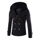 Mens Chic Solid Simple Long Sleeve Double Breasted Notched Lapel Slim Fit Peacoat with Detachable Hood