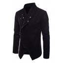 Mens New Trendy Long Sleeve Stand Collar Single Button Short Fitted Wrap Jacket Wool Coat