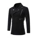 Mens Fashionable Black Oblique Zipper Embellish Studded Notch Lapel Long Sleeve Slim Fit Wool Coat Jacket