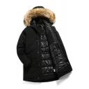 Fashionable Logo Printed Long Sleeve Zip up Longline Black Parka Coat with Fur Trimmed Hood
