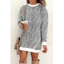 Womens Fashionable Leopard Printed Long Sleeve Oblique Zip Embellished Gray Tunic Sweatshirt Dress
