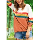Womens Chic Striped Gradient Color Round Neck Long Sleeve Loose Fit Pullover Sweatshirt Top