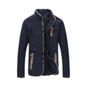 Mens Casual Dark Blue Stand Collar Contrast Trim Elbow Patch Long Sleeve Zip Placket Quilted Lightweight Jacket