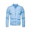Mens Fashionable Sky Blue Plain Long Sleeve Zip Placket Casual Outdoor Thin Track Jacket