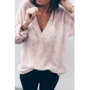Womens Autumn Fashionable Solid Color Deep V-Neck Long Sleeve Hollow Out Oversized Thin Pullover Sweater
