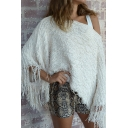 Womens Stylish Plain White Collared Tassel Decoration Loop Poncho Sweater