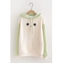 Girls Cute Face Pattern Colorblock Long Sleeve Relaxed Fit Drawstring Hoodie with Pocket