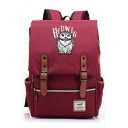 Stylish HEDWIG Letter Cartoon Owl Printed Zip Placket Backpack Schoolbag for Teenagers