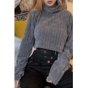 Womens Fashionable Plain Gray Turtle Neck Long Sleeve Oversized Cropped Pullover Sweatshirt