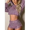 Plain Purple Glisten Long Sleeve Elastic Hem Cropped Drawstring Hoodie
