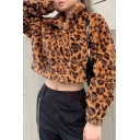 Winter Classic Leopard Printed High Collar Long Sleeve Half Zip Cropped Slim Fit Brown Fluffy Plush Sweatshirt