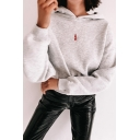 Womens Off White Fashionable Letter Q Heart Embroidery Long Sleeve Crop Hoodie