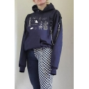 Funny Letter Cartoon Pattern Push Buckle Chain Decorated Long Sleeve Black Loose Hoodie with Pocket