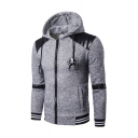 Stylish Skull Badge Embellished PU Leather Panel Long Sleeve Zip Up Plaid Hooded Hoodie