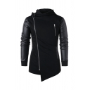 Stylish Black PU Leather Patch Long Sleeve Diagonal Zipper Asymmetric Hem Casual Hoodie