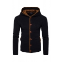 Winter Warm Contrast Trim Button Front Elbow Patch Long Sleeve Slim Fit Thick Hoodie with Pocket