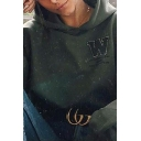 Fall Stylish Letter W Chest Long Sleeve Army Green Oversized Crop Hoodie