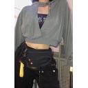 Womens Sexy Cutout Front Long Sleeve Plain Corp Drawstring Hoodie