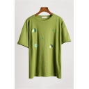 Womens Fashionable Avocado Pattern Short Sleeve Round Neck Casual Oversized Tee