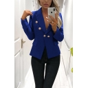 Womens Elegant Plain Button Embellished Long Sleeve Slim Fit Short Blazer Coat