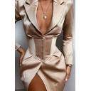 Womens Fashion Deep V Neck Long Sleeve Gathered Waist Slim Fit Khaki Longline Blazer Coat