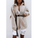 Hot Style LOGO Letter Printed High Collar Long Sleeve Longline Khaki Zipper Casual Loose Cashmere Coat