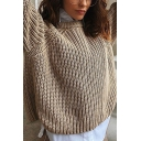 Womens Fashionable Crew Neck Long Sleeve Regular Khaki Chunky Knit Pullover Sweater