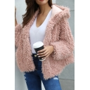New Stylish Plain Long Sleeve Faux Fur Teddy Short Coat with Hood for Women
