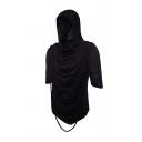 Mens Hip Hop Style Solid Heaps Collar Pleated Braided Detail Half Sleeve Slim Fit Irregular Hoodie Top