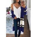 Womens Loose Color Block Long Sleeve Collarless Open Front Longline Knitwear Cardigan Coat