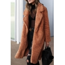Womens Warm Solid Color Long Sleeve Open Front Fuzzy Teddy Longline Overcoat