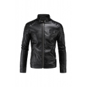 Mens Classic Black PU Leather Stand Collar Pleated Long Sleeve Zip Up Slim Fit Cool Moto Jacket with Zipper Pocket