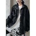 Womens Cool Long Sleeve Ribbon Decoration Zip Closure Black Baggy Casual Utility Jacket Coat