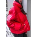 Womens Loose Warm LUCKY FIVE Letter Applique Long Sleeve High Collar Plain Metallic Short Down Jacket Coat