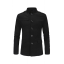 Men's Retro Slim Fit Mandarin Collar Long Sleeve Button Down Casual Jacket Suit with Pocket