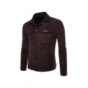 Mens Simple Warm Long Sleeve Single Breasted Flap Pocket Casual Corduroy Plain Fitted Work Jacket Coat