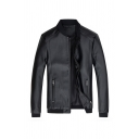 Mens Simple Plain Black Long Sleeve Zip Closure Fitted PU Jacket with Zipper Pocket