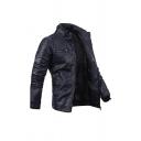 Mens Navy Blue Stand Collar Long Sleeve Zip Up Slim Fit PU Biker Jacket