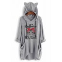 Lovely CAFFEINE CAT HAIR Printed Long Sleeve Cat Ear Loose Tunic Hoodie with Pocket