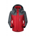 Mens Outdoor Red and Grey Colorblocked Long Sleeve Zip Closure Thick Windbreaker Hooded Track Jacket