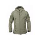 Mens Fashionable Plain Green Long Sleeve Zip Placket Waterproof Windbreaker Jacket with Hood