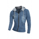 Mens Fashionable Patched Hood Long Sleeve Zipper Slim Fit Washed Denim Jacket
