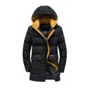Winter Warm Black Classic Badge Applique Long Sleeve Flap Pocket Zipper Longline Down Coat with Hood