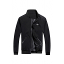 Mens Simple Applique Chest Long Sleeve Stand Collar Zip Placket Zipper Pocket Casual Baseball Jacket