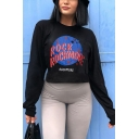 New Trendy Letter ROCKMORE Printed Long Sleeve Black Cropped Graphic Pullover Sweatshirt