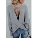 Womens Casual Back Cross Strap Backless Plain Long Sleeve Pullover Sweater Knitwear